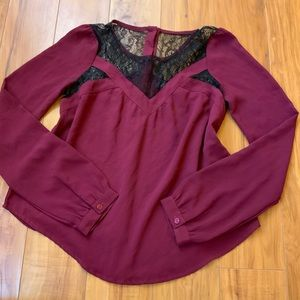 ASTR Burgundy Lace Blouse
